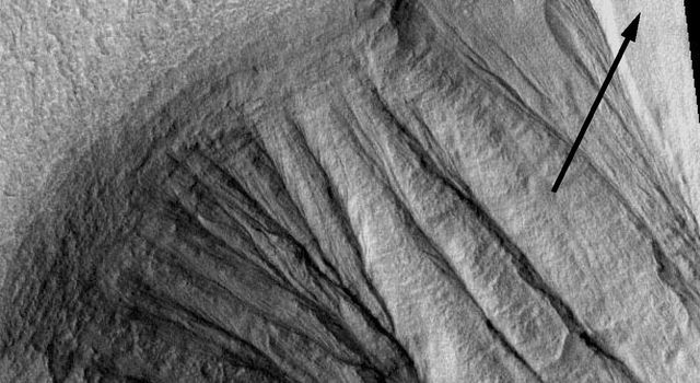 NASA's Mars Global Surveyor shows gullies on martian crater walls that may be carved by liquid water melting from remnant snow packs.