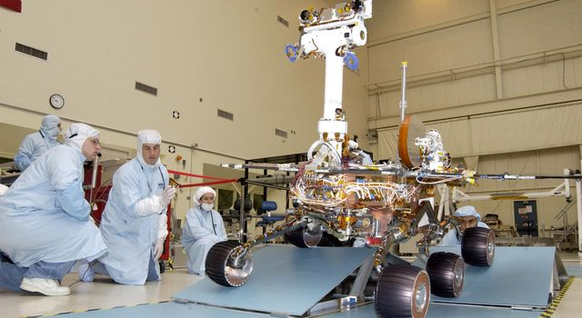 NASA's Rover 2 is driven over staggered ramps to test the suspension's range of motion.