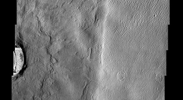 The long sharp-crested features observed in this image from NASA's Mars Odyssey spacecraft are named yardangs. Yardangs form by wind erosion and typically lie in the direction of the dominant wind.