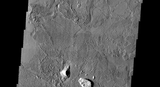 This image from NASA's Mars Odyssey spacecraft shows a flooded crater in Amazonis Planitia. This crater has been either flooded with mud and or lava. The fluid then ponded up, dried and formed the surface textures we see today.
