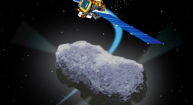 Artist's concept of NASA's Deep Space 1 Encounter with Comet Borrelly.
