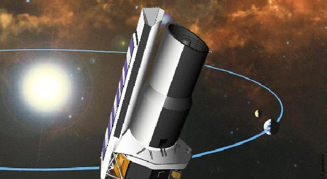 This image was used in a contest to rename the Space InfraRed Telescope Facility (SIRTF), now known as the Spitzer Space Telescope.