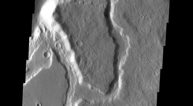 This image taken by NASA's 2001 Mars Odyssey shows Mangala Vallis, one of the large outflow channels on Mars.