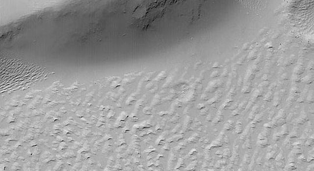 NASA's Mars Global Surveyor shows the margin of a lava flow near the edge of a scarp in far western Daedalia Planum on Mars. A blanket of dust covers the upland and the rugged lava flow surfaces.