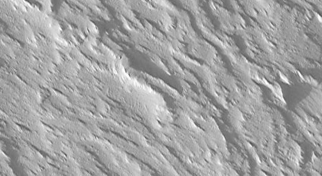 NASA's Mars Global Surveyor shows Olympus Mons on Mars is the largest volcano in the Solar System. The surface is rugged, with many overlapping lava flow structures, all of which are mantled by a thick blanket of dust and wind-scoured sediment.