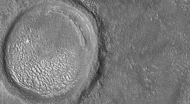 NASA's Mars Global Surveyor shows a strangely-textured floor on Mars. The original crater has been somewhat eroded and much of its interior has been filled with sediment since it formed.