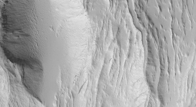 NASA's Mars Global Surveyor shows some of the lava flows and leveed lava channels on the southeastern flank of Olympus Mons on Mars. These flows have been covered by a thick mantle of dust.
