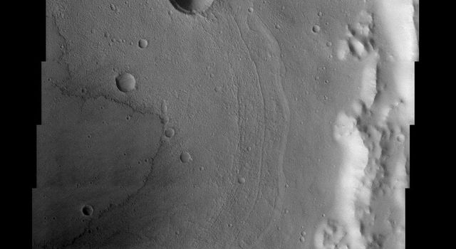 NASA's Mars Odyssey spacecraft captured this image in September 2003, showing concentric crater floor deposits in Daedalia Planumon Mars. Lava flows appear to be converging on this crater from the northeast as well as on the crater floor.