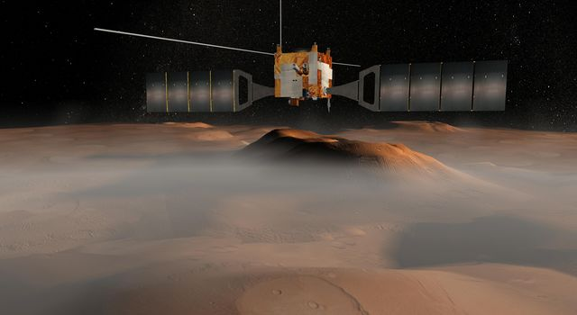 The European Space Agency's Mars Express spacecraft is depicted in orbit around Mars in this artist's concept illustration.