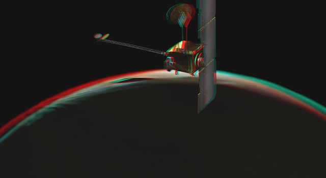 NASA's Mars Odyssey spacecraft passes above a portion of the planet that is rotating into the sunlight in this artist's concept illustration. 3D glasses are necessary to view this image.