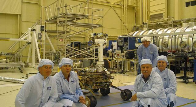 Rover team members with the Mars Exploration Rover.