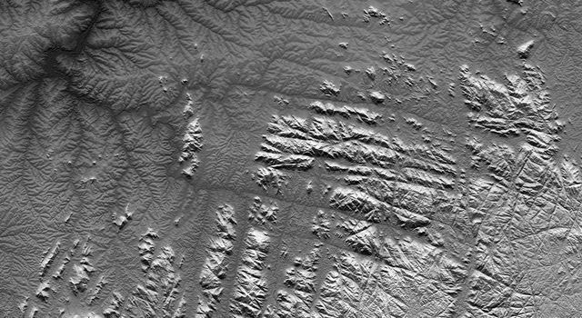 Gotel Mountains, Nigeria and Cameroon, SRTM Shaded Relief plus Height as Brightness