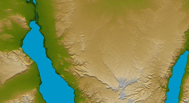 The Sinai Peninsula, located between Africa and Asia, is a result of those two continents pulling apart from each other as seen by NASA's Shuttle Radar Topography Mission.