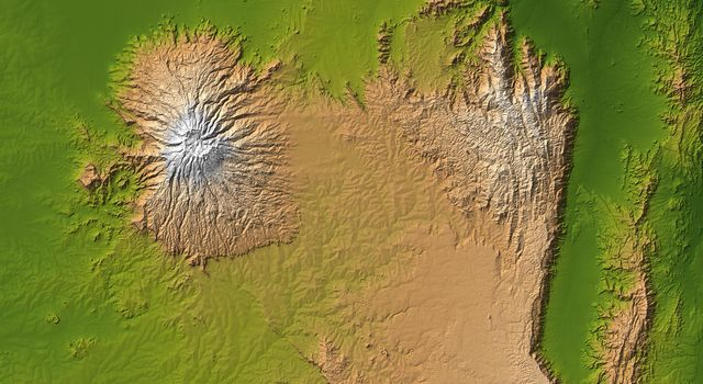 Mt. Elgon, Africa, Shaded Relief and Colored Height