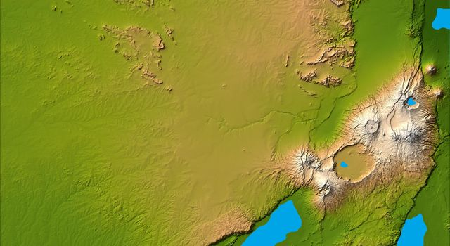 Three striking and important areas of Tanzania in eastern Africa are shown in this color-coded shaded relief image from NASA's Shuttle Radar Topography Mission.