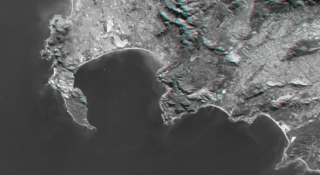 Cape Town, South Africa, Anaglyph, Landsat Image over SRTM Elevation