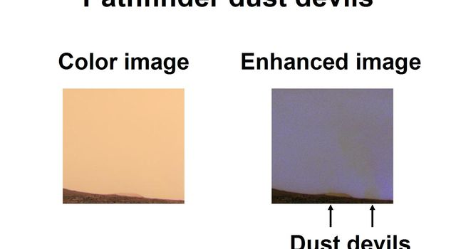 This set of images from NASA's 1997 Mars Pathfinder mission highlight the dust devils that gust across the surface of Mars. The right image shows the dusty martian sky as our eye would see it.