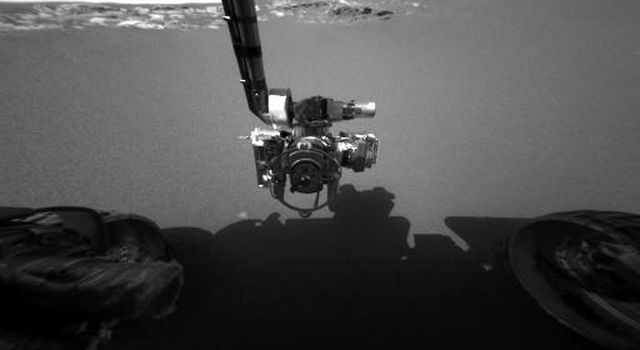 This image taken at Meridiani Planum in 2004 shows NASA's Mars Exploration Rover Opportunity's arm in its extended position.