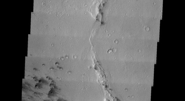 This image from NASA's 2001 Mars Odyssey released on Jan 6, 2004 shows Gusev Crater, the site of Mars Exploration Rover Spirit's landing on Mars.