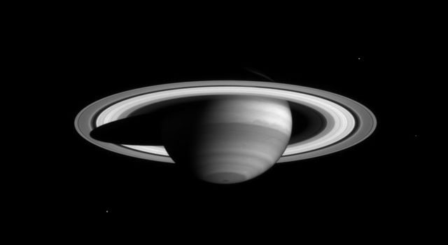 NASA's Cassini narrow angle camera took this image of Saturn on Feb. 16, 2004, from a distance of 66.1 million kilometers (41.1 million miles) in a special filter which reveals clouds and haze high in the atmosphere.