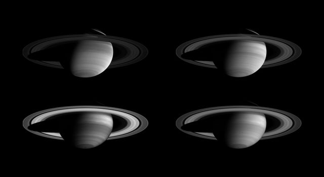A montage of NASA's Cassini images, taken in four different regions of the spectrum from ultraviolet to near-infrared, demonstrates that there is more to Saturn than meets the eye.