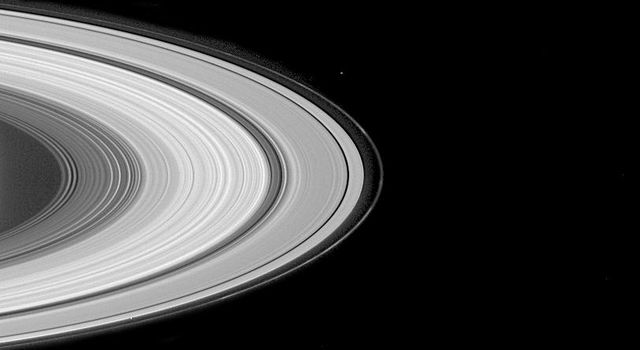 This image from NASA's Cassini spacecraft shows the multitude of grooves for which Saturn's rings are famed.