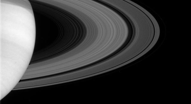 Saturn's magnificent rings show some of their intricate structure in this image taken on May 11, 2004, by NASA's Cassini spacecraft's narrow angle camera.