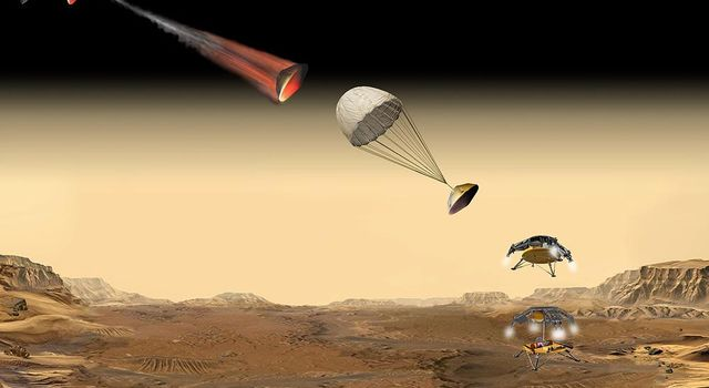 This artist's concept of the proposed NASA Mars Sample Return mission shows the entry, descent and landing sequence the lander would undergo on its way to Mars.