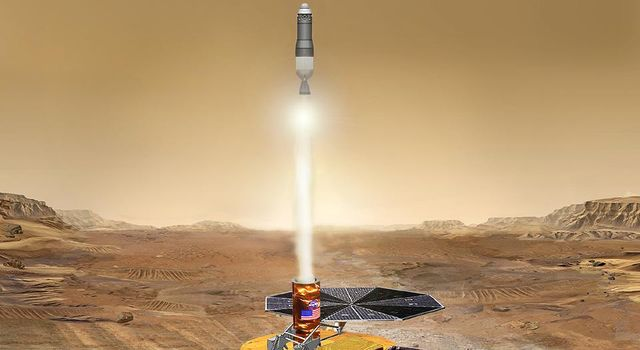 This artist's concept of the proposed NASA Mars Sample Return mission shows the launch of the martian sample back toward Earth.