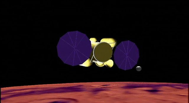 This artist's concept shows the proposed NASA Mars sample return mission above the red planet.