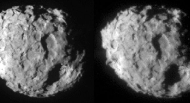 This image shows a stereo pair of the comet Wild 2, which NASA's Stardust spacecraft flew by on Jan. 2, 2004.