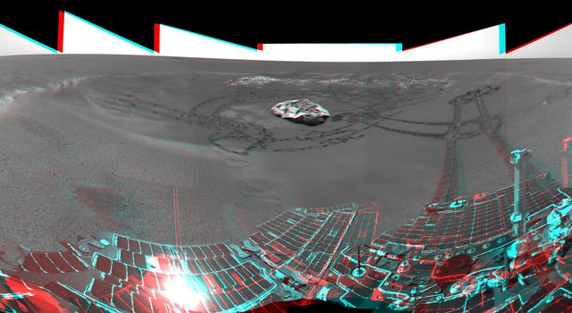 This is the 3-D version of NASA's Mars Exploration Rover Opportunity's view on its 56th sol on Mars, before it left 'Eagle Crater.' 3D glasses are necessary to view this image.