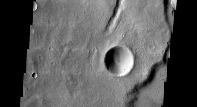 This image from NASA's 2001 Mars Odyssey released on March 31, 2004 shows part of the Tinia Vallis region on Mars. The image shows a small channel with a delta.