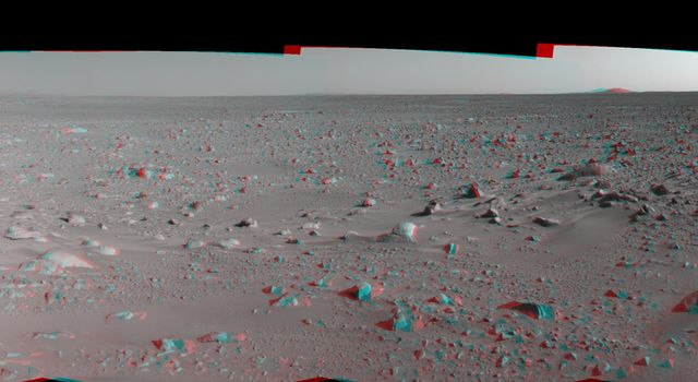 This 3-D cylindrical-perspective mosaic was created from navigation camera images that NASA's Mars Exploration Rover Spirit captured on on sol 93. 3D glasses are necessary to view this image.