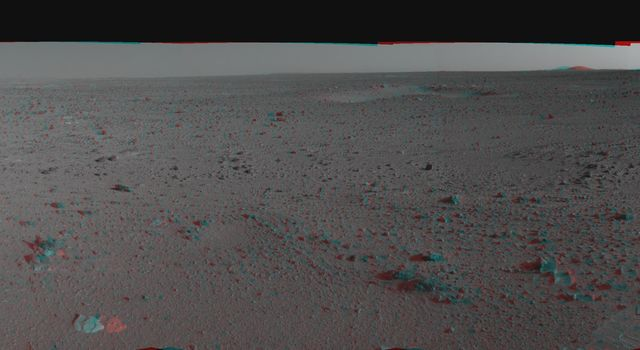 This 3-D cylindrical-perspective mosaic was created from navigation camera images that NASA's Mars Exploration Rover Spirit captured on on sol 110. 3D glasses are necessary to view this image.