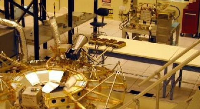 This scene from NASA's Jet Propulsion Laboratory Spacecraft Assembly Facility in April 2002 shows early work on the spacecraft then known as NASA's Mars Exploration Rover 1 and later named Opportunity.
