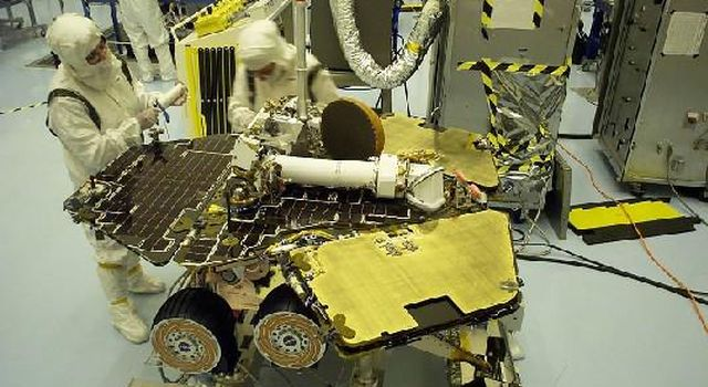 This scene from NASA's Kennedy Space Center in April 2003 shows work during final processing of the spacecraft then known as NASA's Mars Exploration Rover B and later named Opportunity.