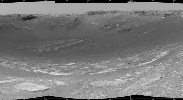 This 180-degree view from the navigation camera on NASA's Mars Exploration Rover Opportunity was its first look inside 'Endurance Crater.'
