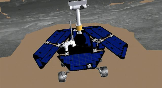 This terrain model shows NASA's Mars Exploration Rover Opportunity at the end of its drive to the edge of 'Endurance Crater.'