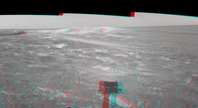 This 3-D cylindrical-perspective mosaic was created from navigation camera images that NASA's Mars Exploration Rover Spirit captured on on sol 108. 3D glasses are necessary to view this image.