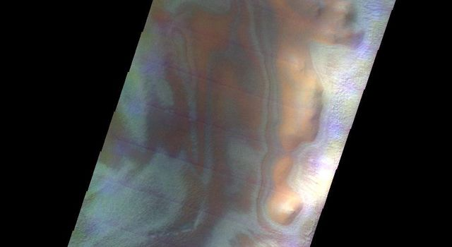 This image from NASA's 2001 Mars Odyssey released on May 11, 2004 shows the martian landscape during the southern spring season in Noachis Terra.