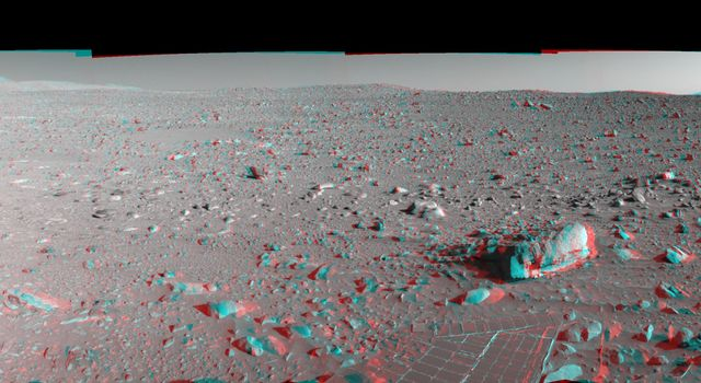 This 360-degree three dimensional anaglyph view from NASA's Mars Exploration Rover Spirit highlights Gusev crater on sol 148. 3D glasses are necessary to view this image.