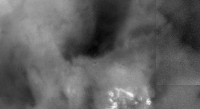Shown here is a blowup of a region of Titan imaged on July 2, 2004. This image from NASA's Cassini spacecraft was taken at a distance of 339,000 kilometers (210,600 miles) and shows brightness variations on the surface of Titan.