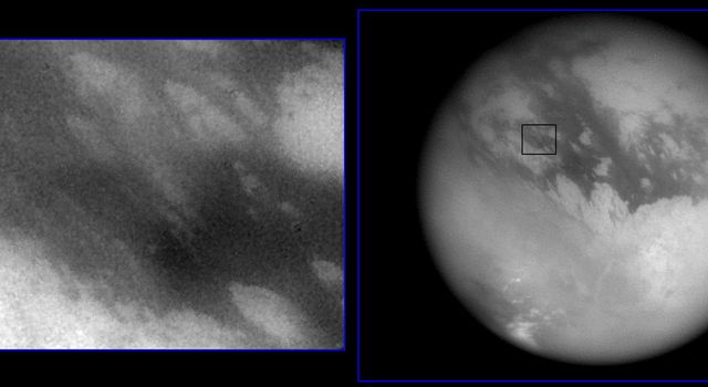Shown here are two images of the expected landing site of NASA's Cassini's Huygen's probe (latitude 10.6 S, longitude 191 W).