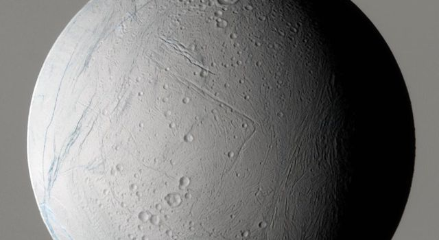 During its very close flyby on March 9, 2005, NASA's Cassini spacecraft captured this false-color view of Saturn's moon Enceladus, which shows the wide variety of this icy moon's geology.