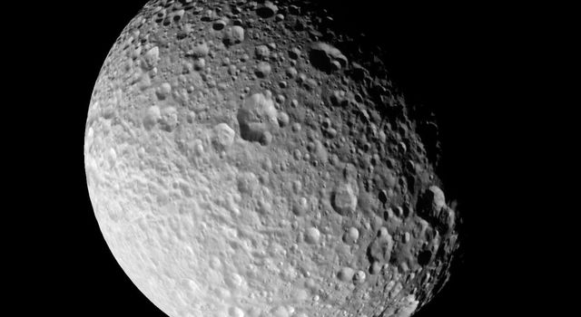 The most detailed images ever taken of Saturn's moon Mimas by NASA's Cassini spacecraft, show it to be one of the most heavily cratered Saturnian moons, with little if any evidence for internal activity.