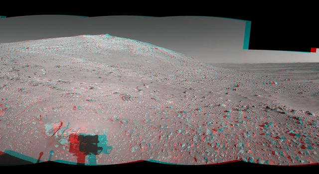 NASA's Mars Exploration Rover took the images that make up this 360-degree mosaic anaglyph highlighting Spirit's arrival at the base of the Columbia Hills. 3D glasses are necessary to view this image.