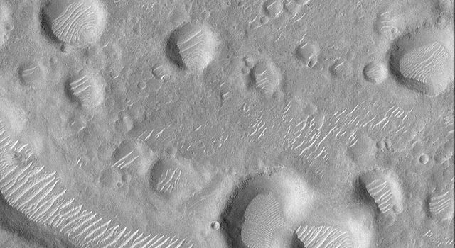 NASA's Mars Global Surveyor shows a cluster of impact craters and large, light-toned, windblown ripples occurring in many of the depressions in this portion of the Amenthes Fossae region of Mars.