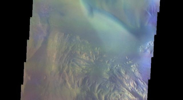 This false-color image released on June 7, 2004 from NASA's 2001 Mars Odyssey was collected May 18, 2003 during southern spring season. The image shows an area in the Hebes Mensa region on Mars.