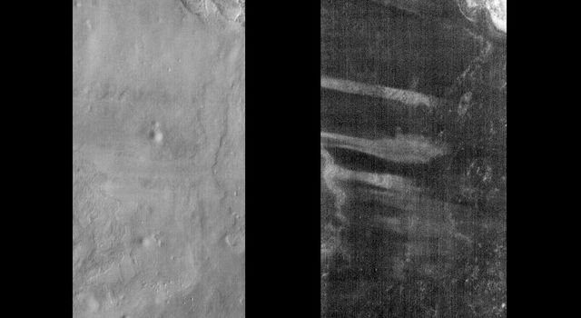 This pair of images released on June 10, 2004 from NASA's 2001 Mars Odyssey shows a comparison of daytime and nighttime of part of the Terra Meridiani region on Mars.